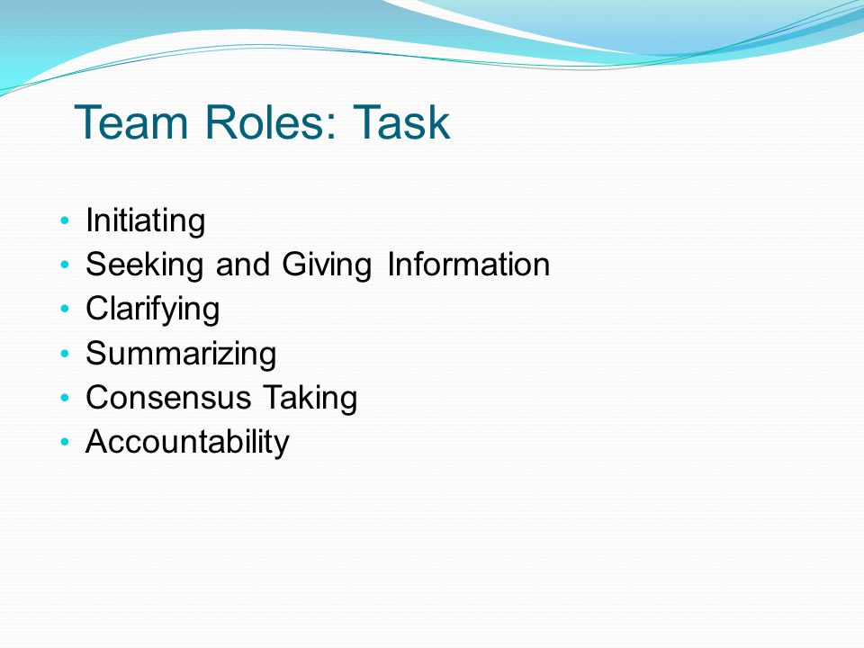 task roles Group role classification model describes functions participants should seek to assume and avoid in groups three categories of roles: task-oriented roles.