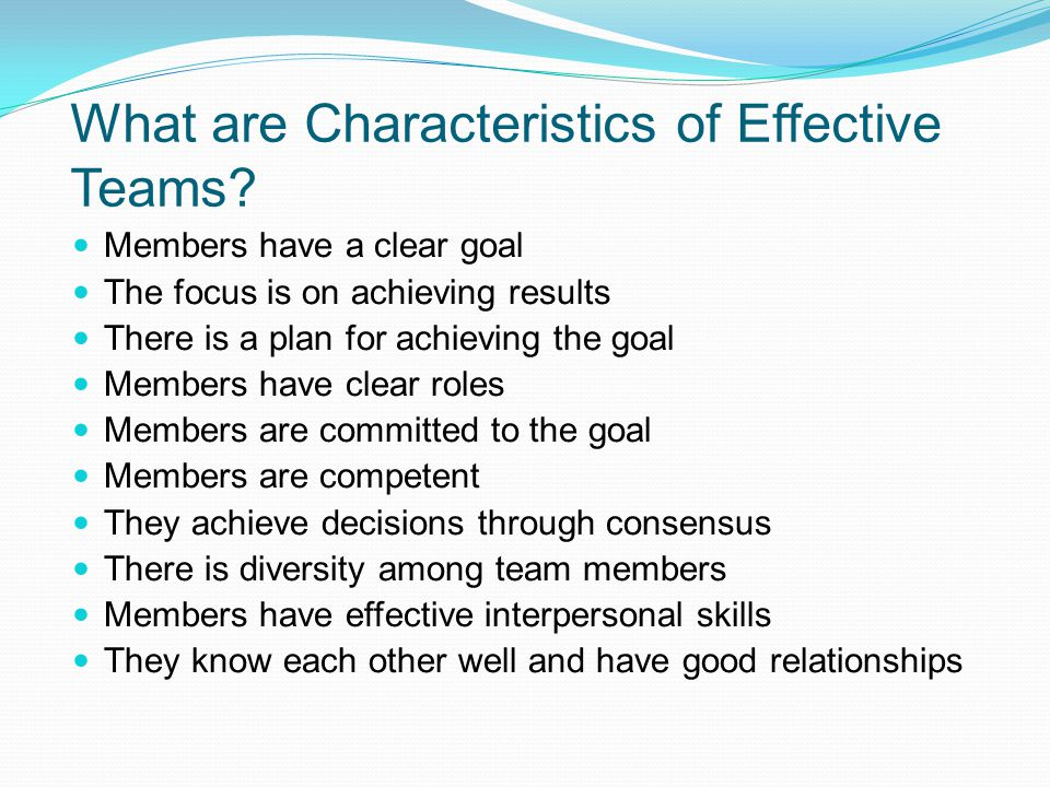 What are Characteristics of Effective Teams
