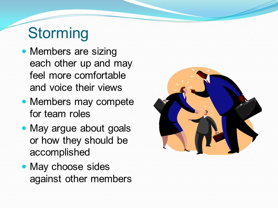 Storming Members are sizing each other up and may feel more comfortable and voice their views. Members may compete for team roles.