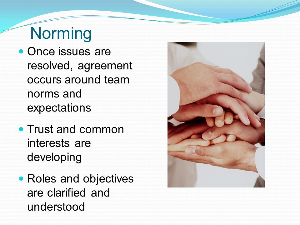 Norming Once issues are resolved, agreement occurs around team norms and expectations. Trust and common interests are developing.