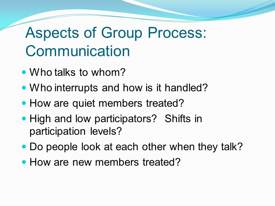 Aspects of Group Process: Communication