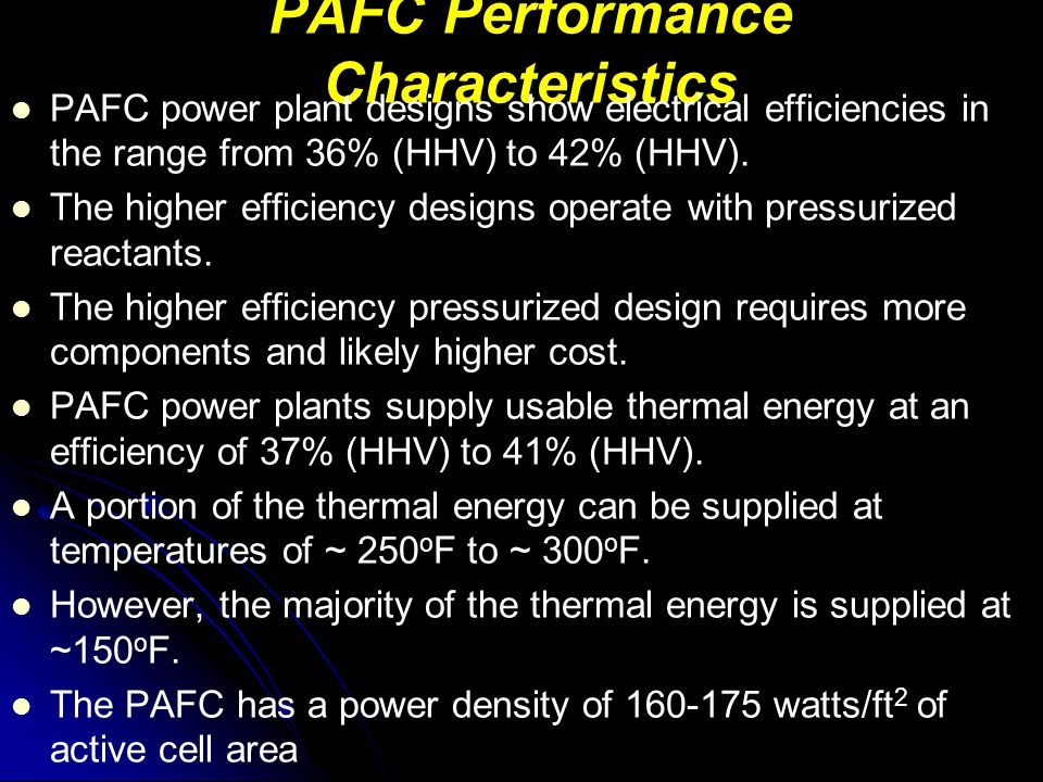 PAFC Performance Characteristics