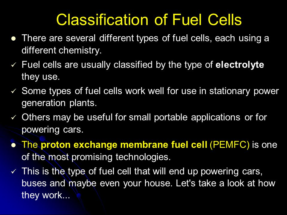 Classification of Fuel Cells