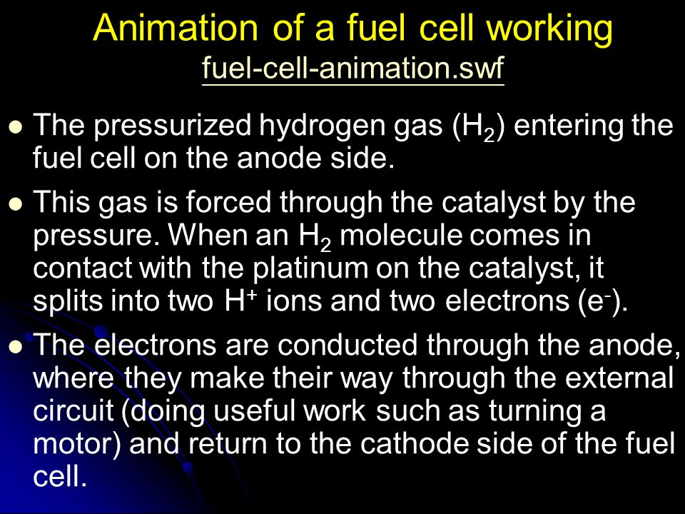 Animation of a fuel cell working fuel-cell-animation.swf