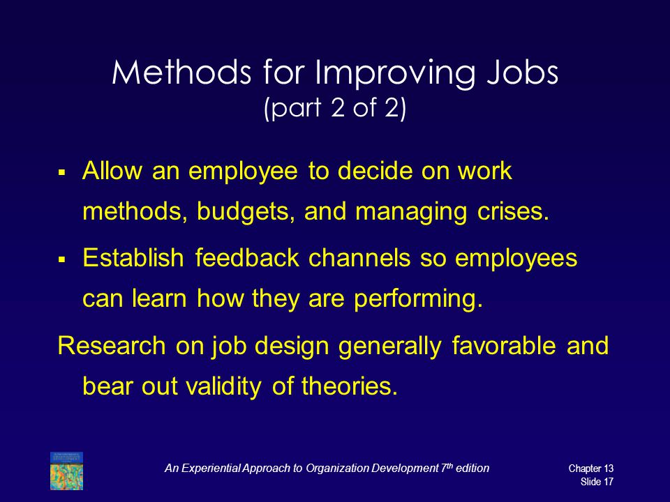 Methods for Improving Jobs (part 2 of 2)