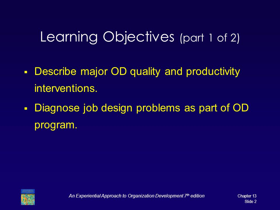Learning Objectives (part 1 of 2)