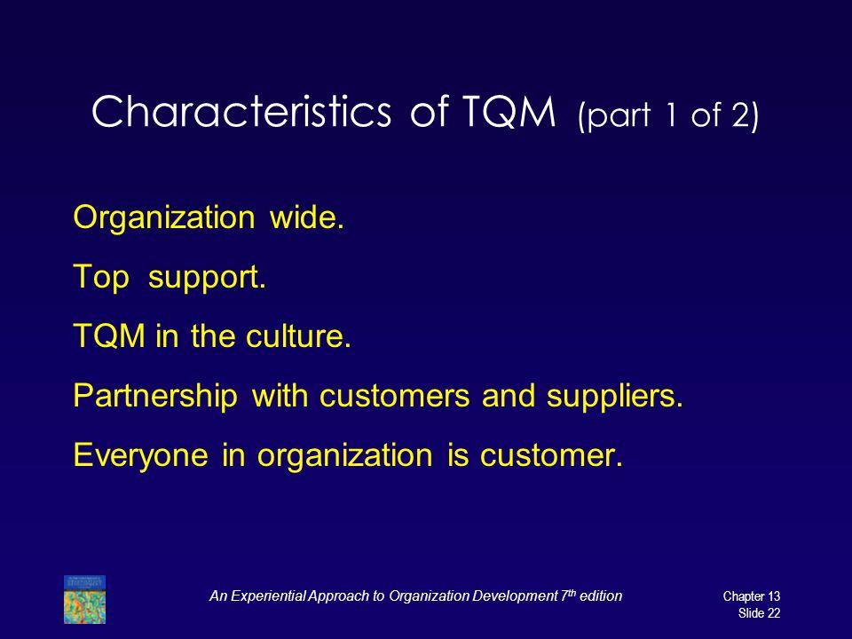 Characteristics of TQM (part 1 of 2)