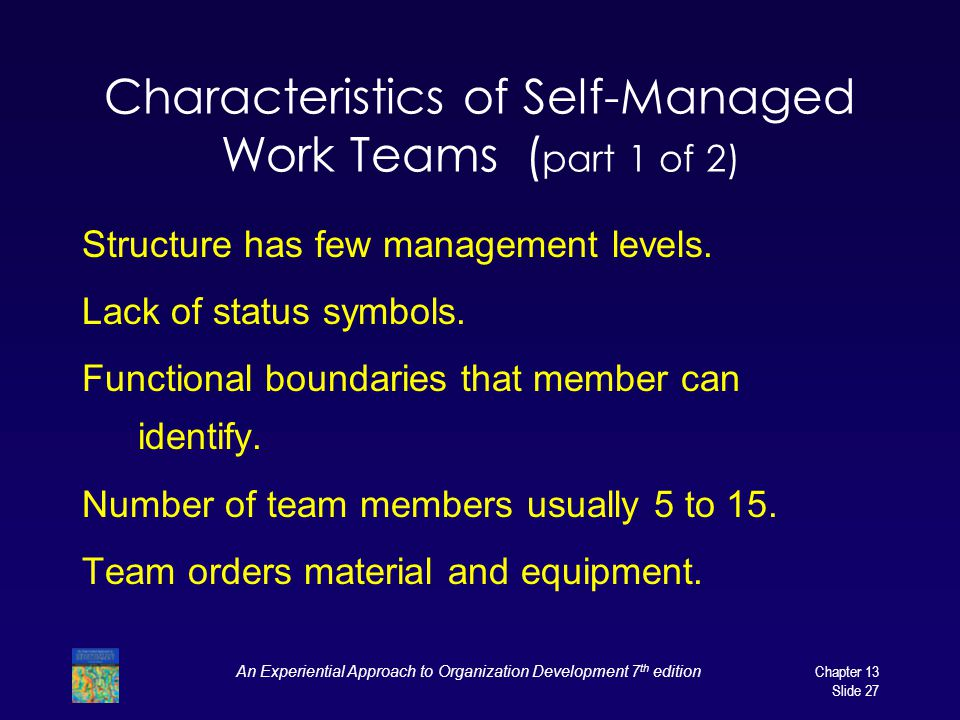 Characteristics of Self-Managed Work Teams (part 1 of 2)