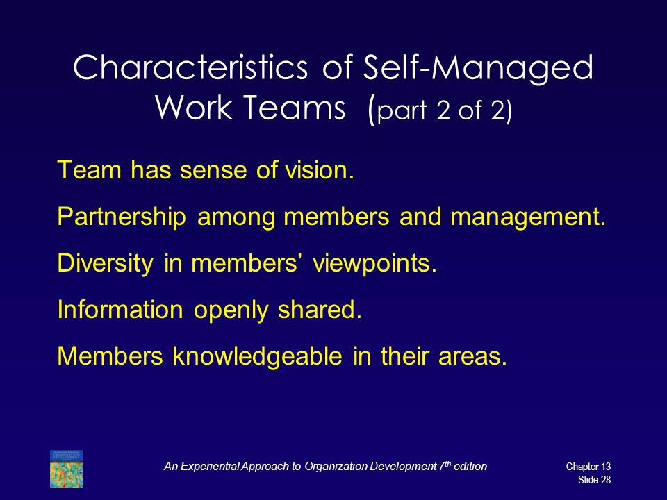 Characteristics of Self-Managed Work Teams (part 2 of 2)