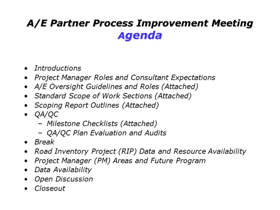 A/E Partner Process Improvement Meeting Agenda