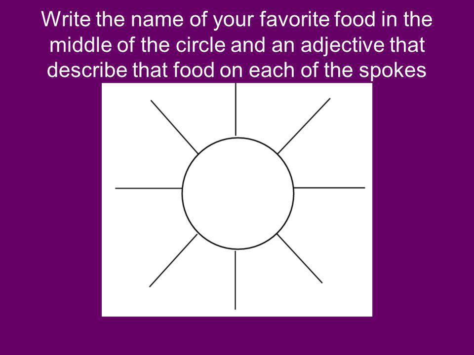 Write the name of your favorite food in the middle of the circle and an adjective that describe that food on each of the spokes