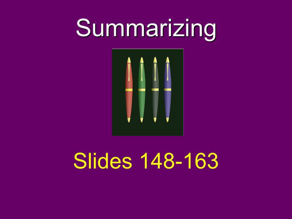 Summarizing Slides 148-163