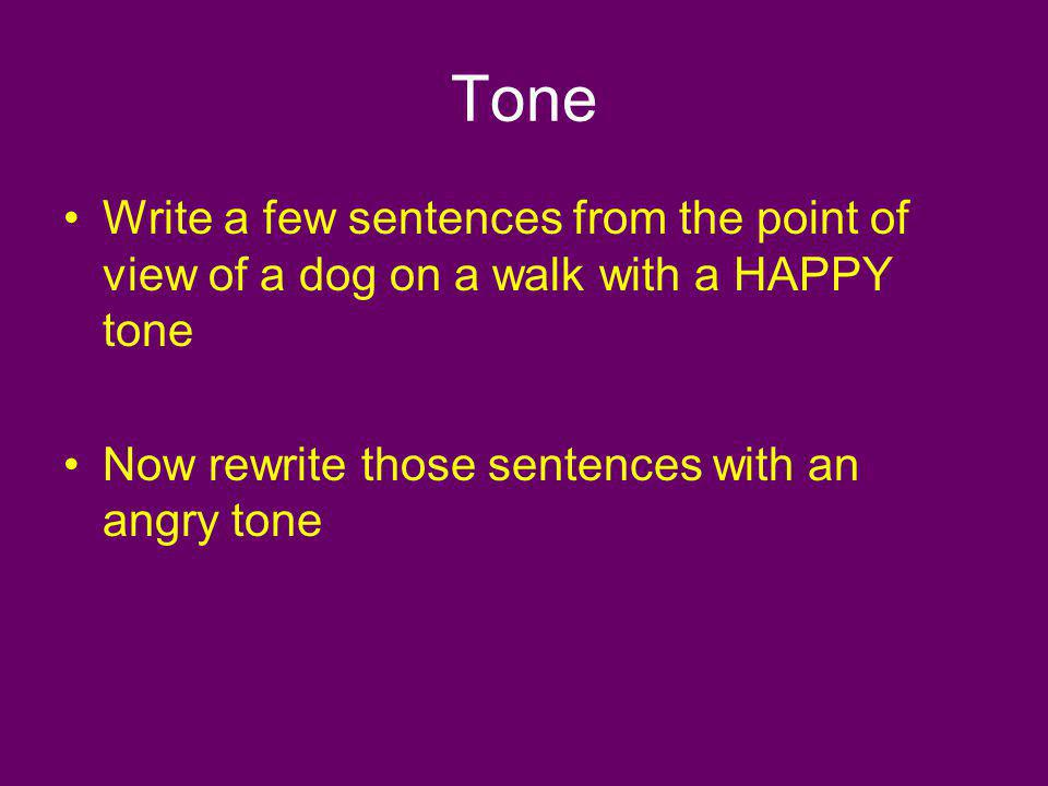 Tone Write a few sentences from the point of view of a dog on a walk with a HAPPY tone.