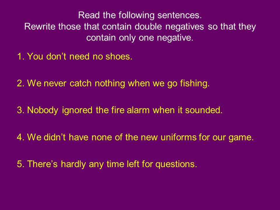 Read the following sentences
