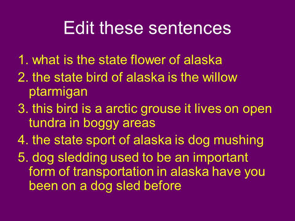 Edit these sentences 1. what is the state flower of alaska
