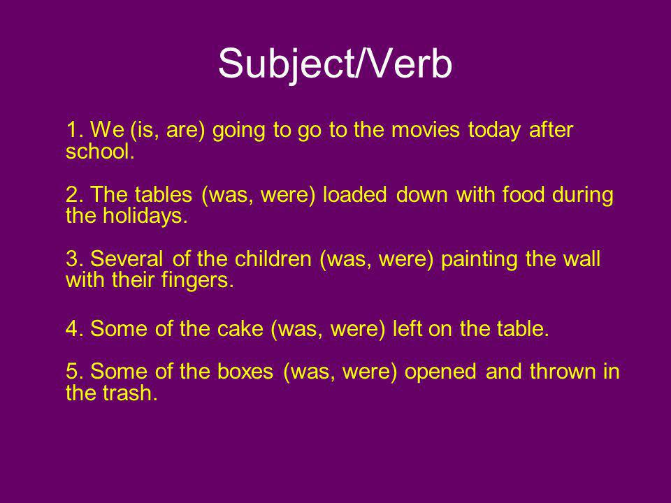 Subject/Verb