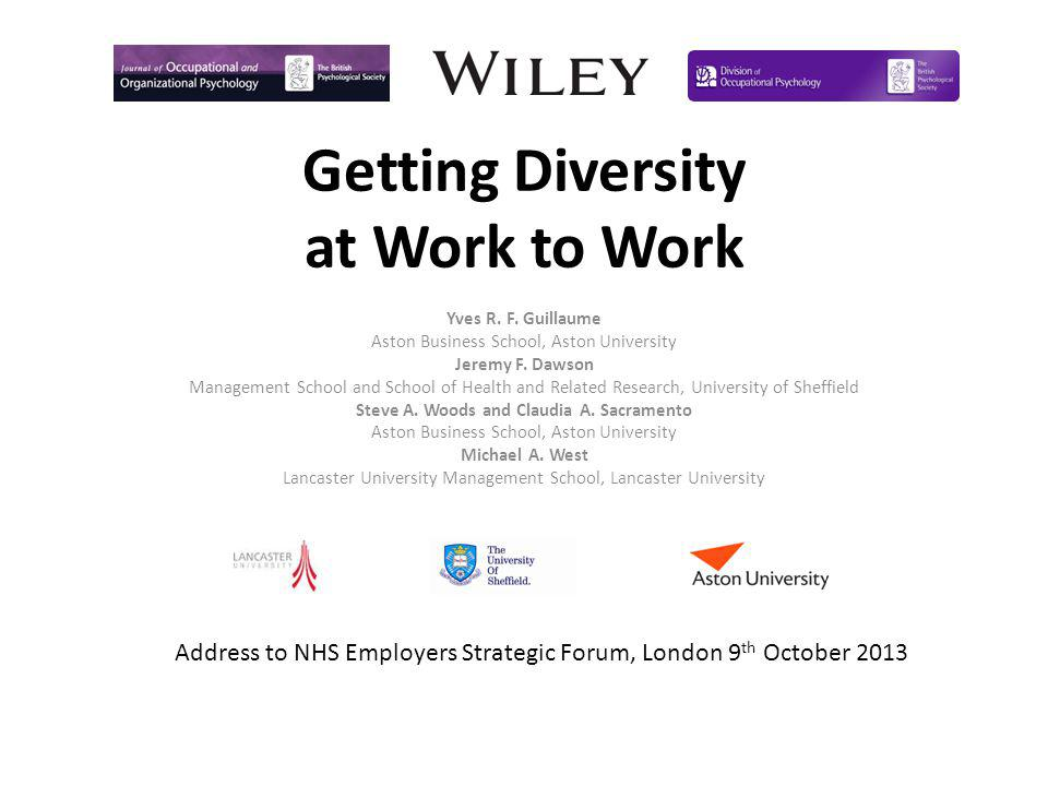 Getting Diversity at Work to Work