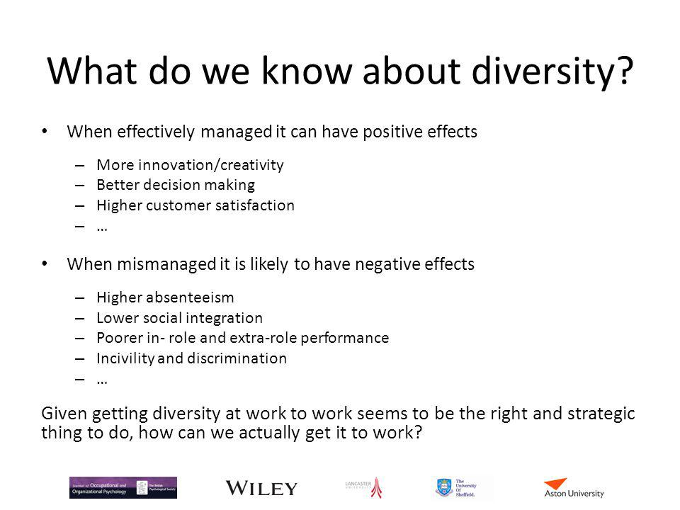 What do we know about diversity