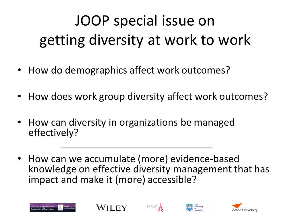 JOOP special issue on getting diversity at work to work