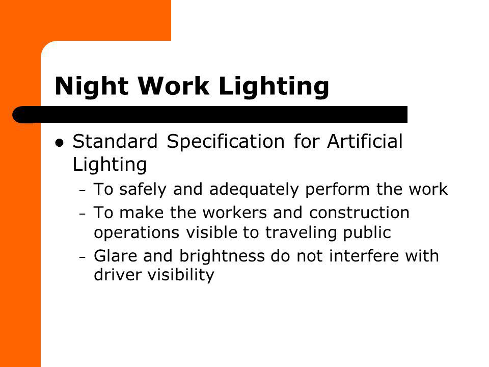 Night Work Lighting Standard Specification for Artificial Lighting