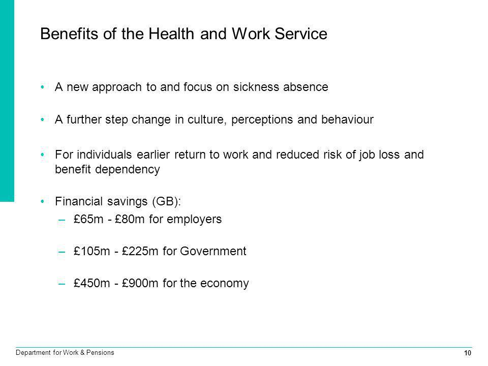 Benefits of the Health and Work Service