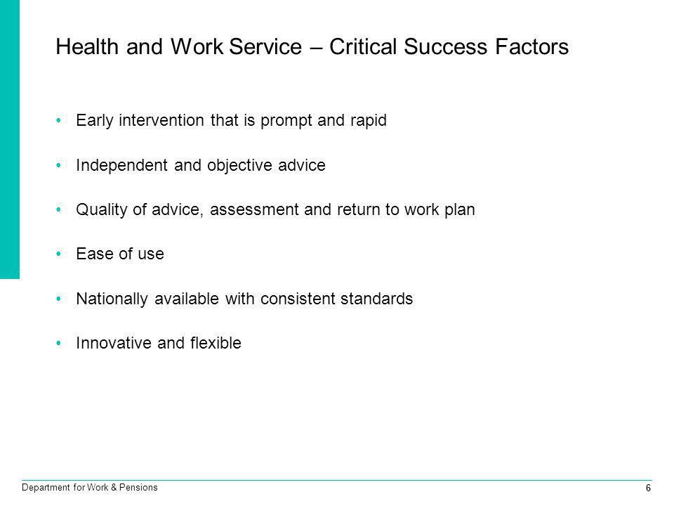 Health and Work Service – Critical Success Factors