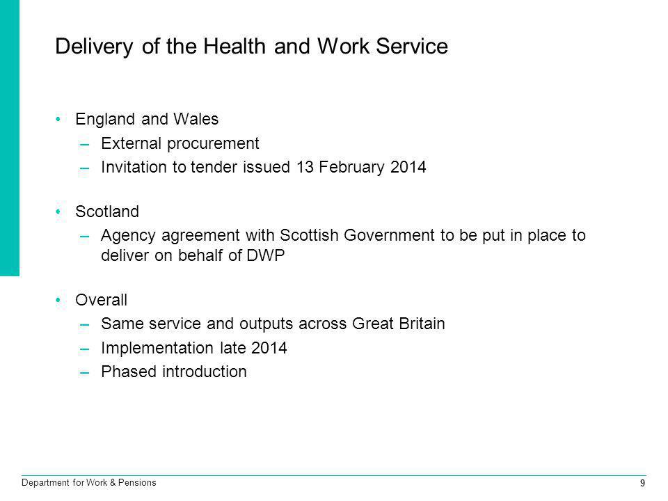 Delivery of the Health and Work Service