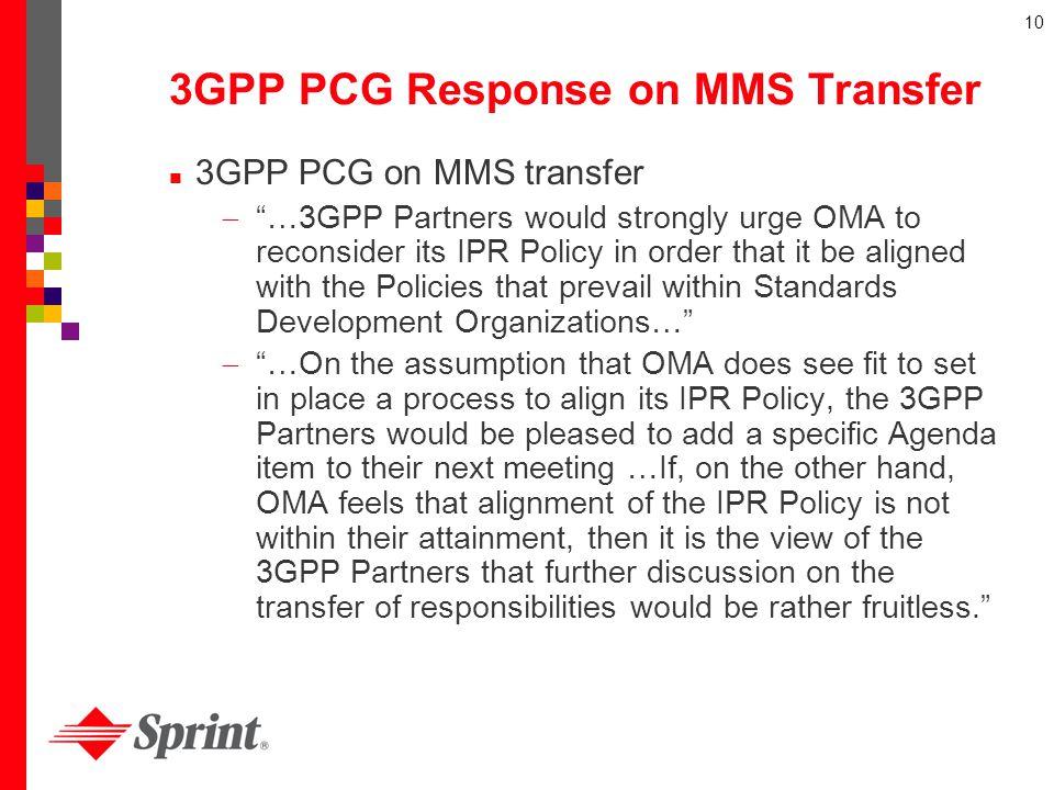 3GPP PCG Response on MMS Transfer