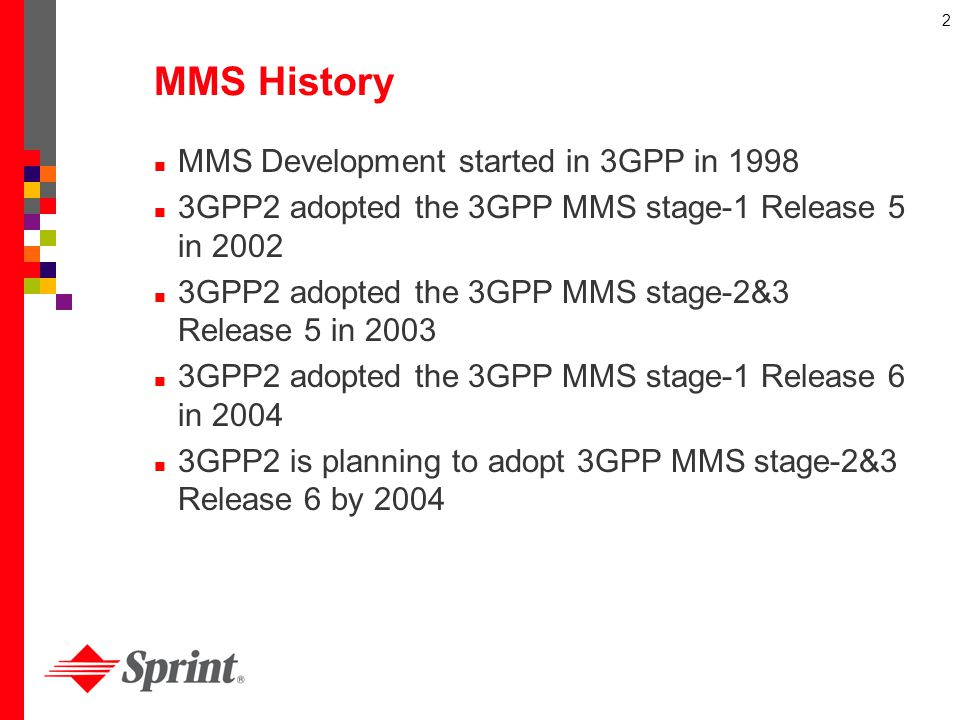 MMS History MMS Development started in 3GPP in 1998