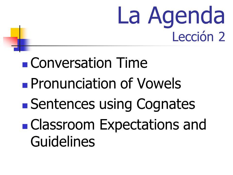 La Agenda Lección 2 Conversation Time Pronunciation of Vowels