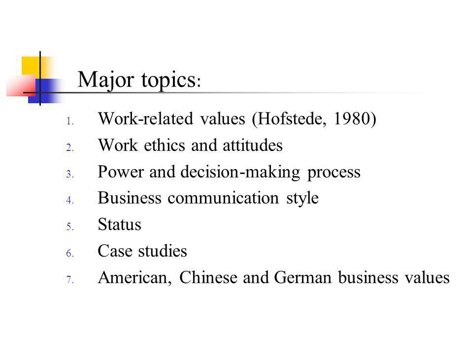 Major topics: Work-related values (Hofstede, 1980)