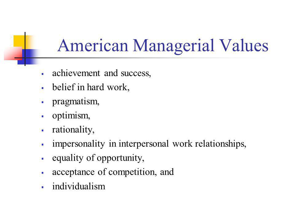 American Managerial Values