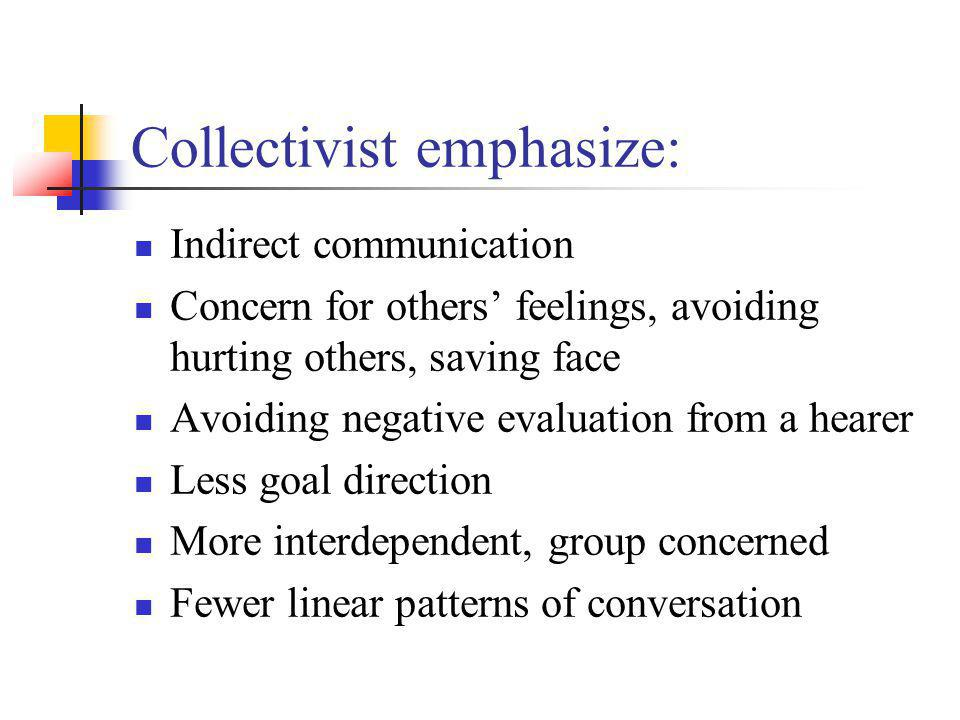 Collectivist emphasize: