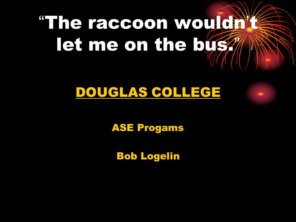 The raccoon wouldn't let me on the bus.