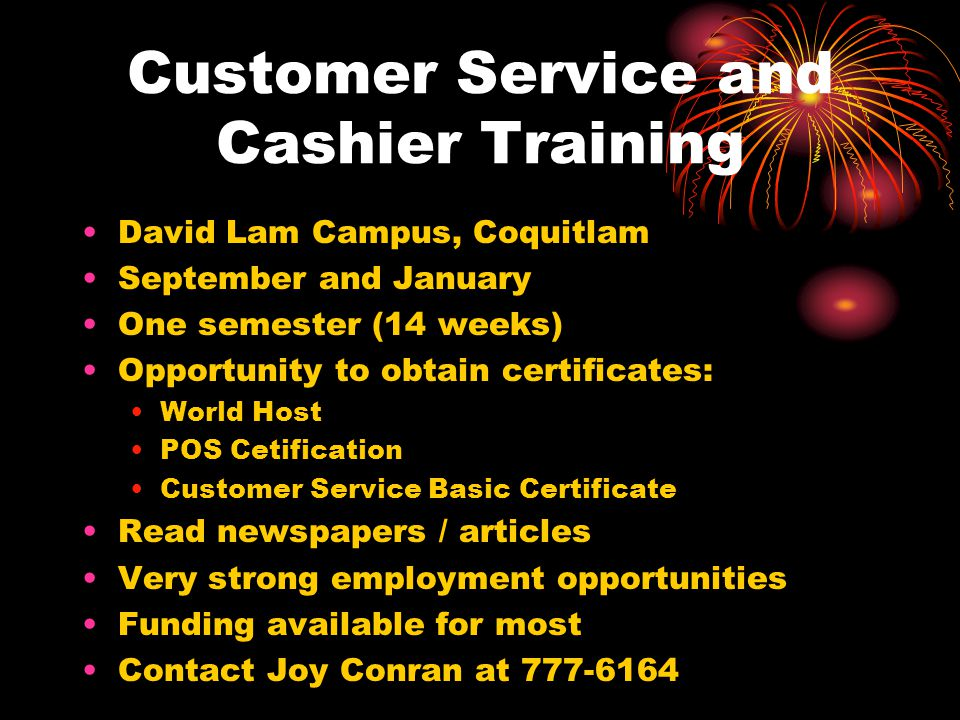 Customer Service and Cashier Training