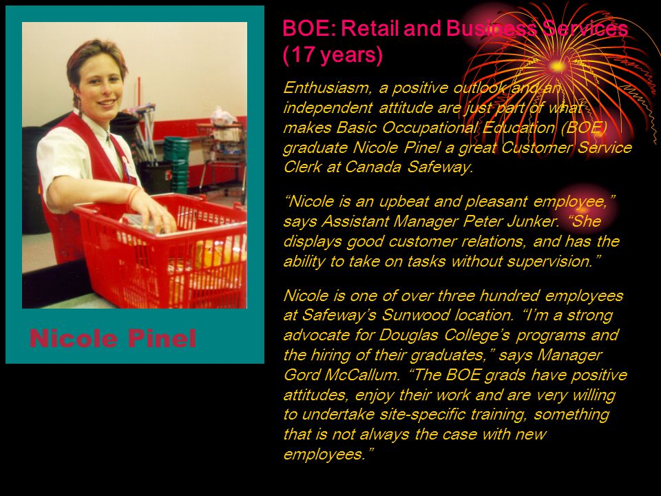 Nicole Pinel BOE: Retail and Business Services (17 years)