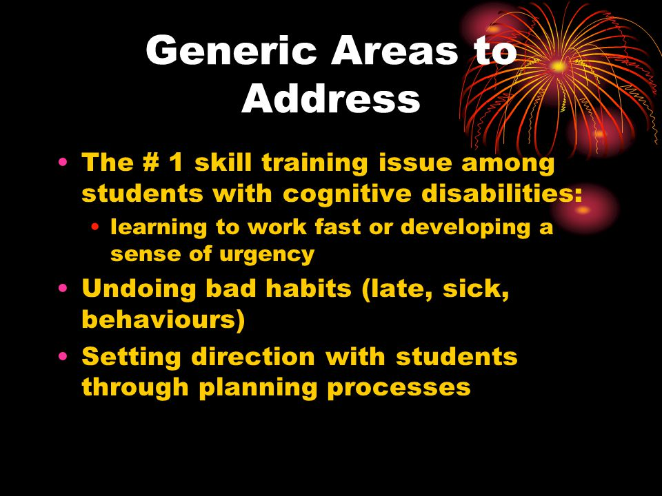 Generic Areas to Address