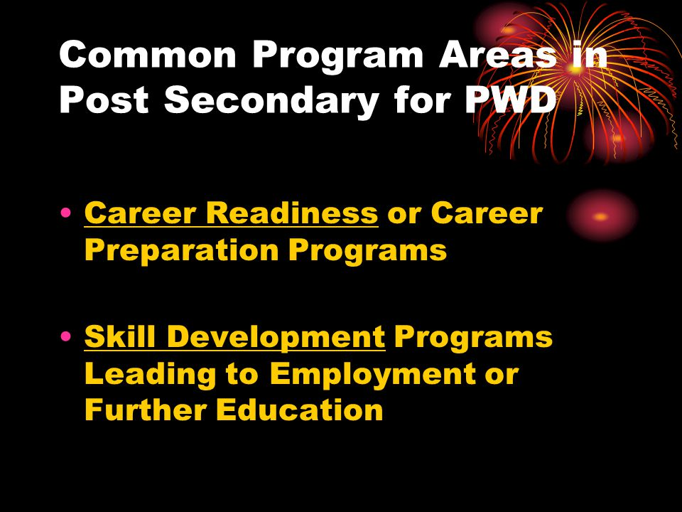 Common Program Areas in Post Secondary for PWD