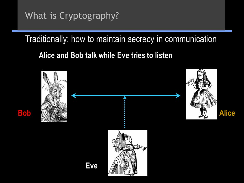 Alice and Bob talk while Eve tries to listen