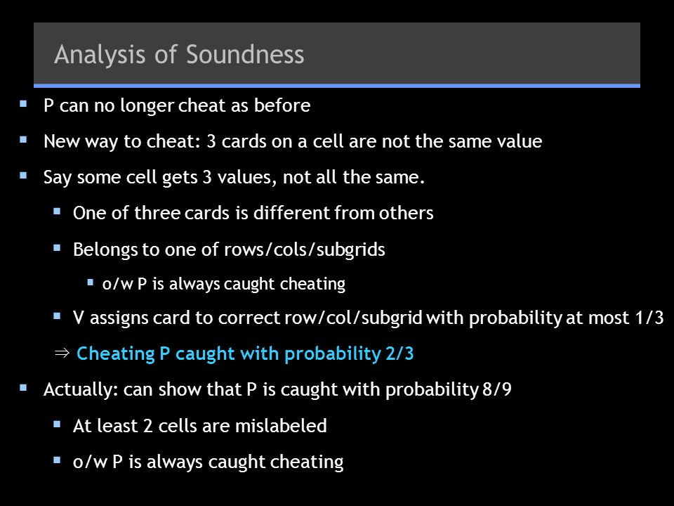 Analysis of Soundness P can no longer cheat as before