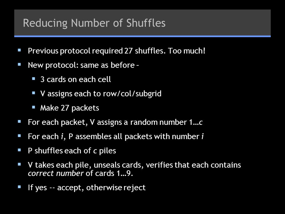 Reducing Number of Shuffles