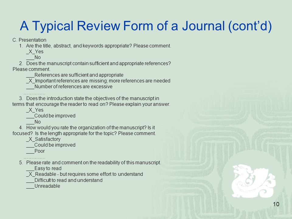 A Typical Review Form of a Journal (cont'd)