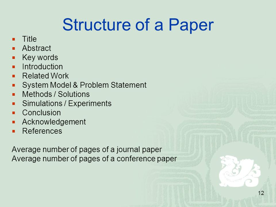 Structure of a Paper Title Abstract Key words Introduction