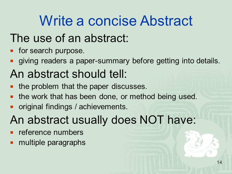 Write a concise Abstract