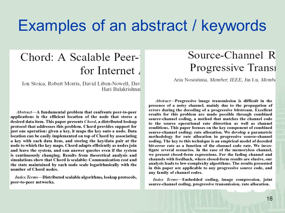 Examples of an abstract / keywords