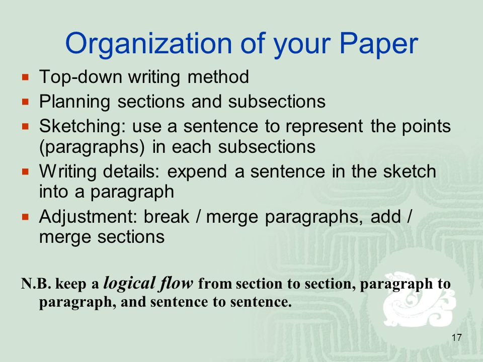 Organization of your Paper