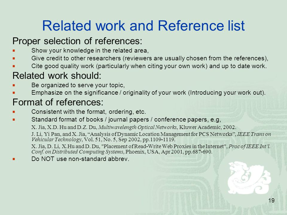 Related work and Reference list