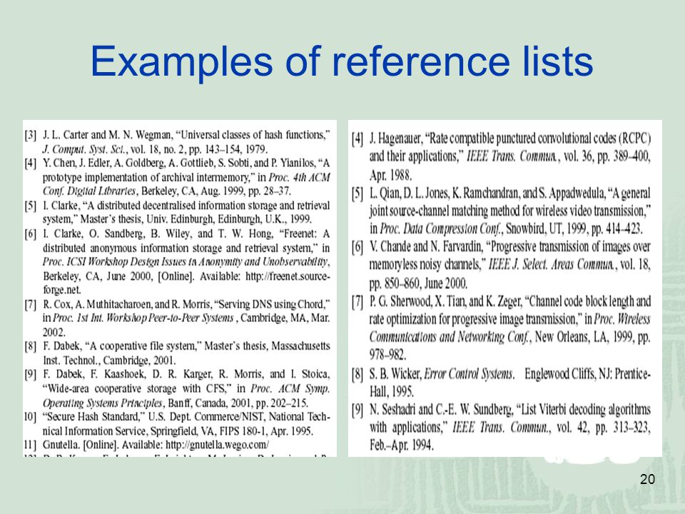 Examples of reference lists