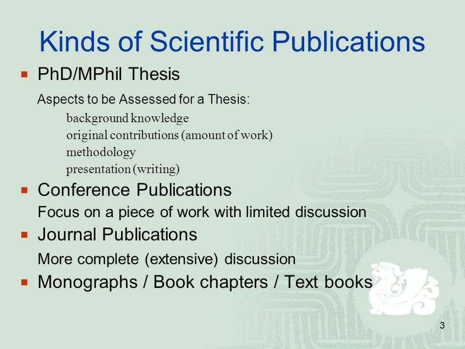 Kinds of Scientific Publications