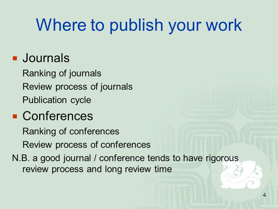 Where to publish your work